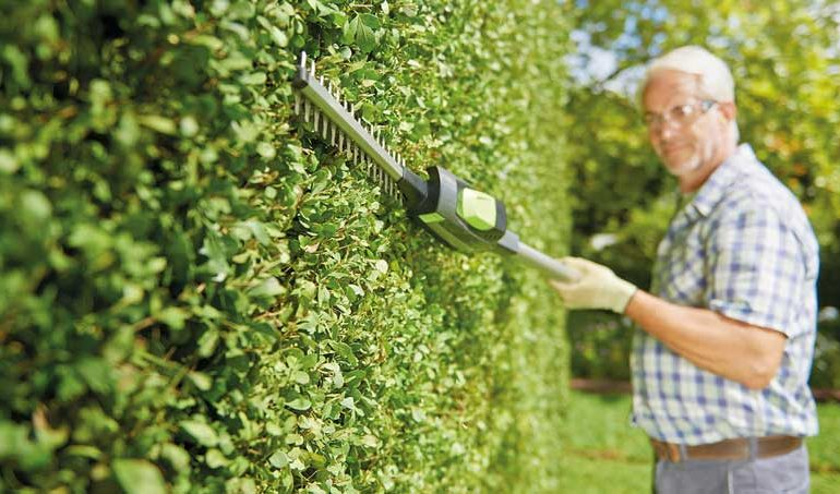 A Old man using Gtech Hedge Trimmer